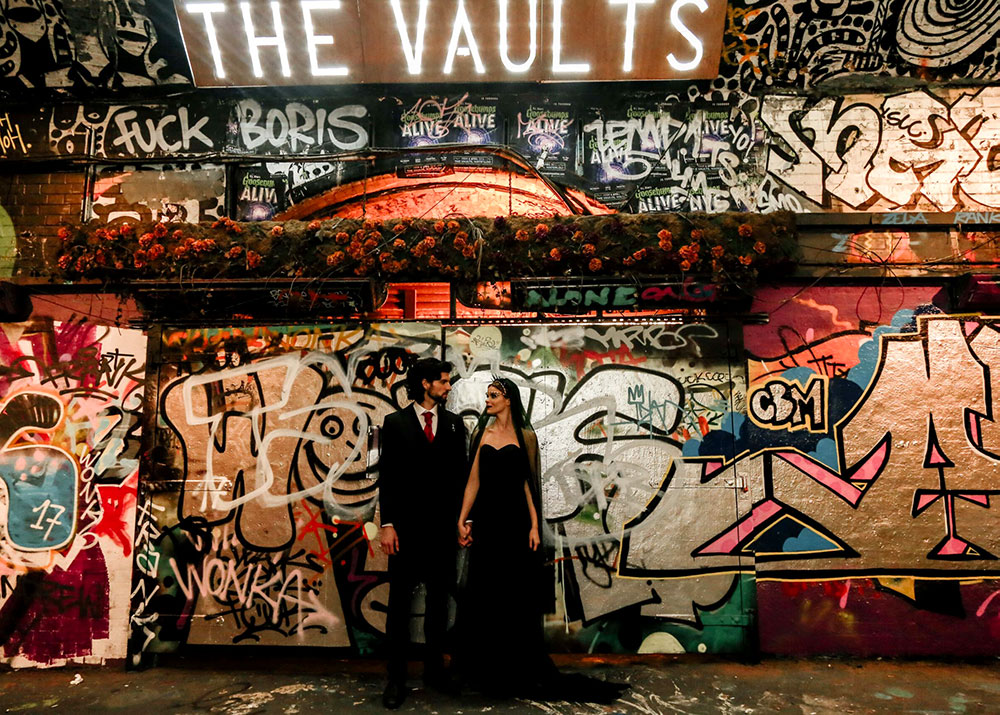 Bride and Groom on Graffiti Wall